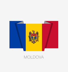Flag of moldova flat icon waving flag with vector