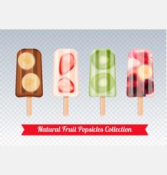 fruit popsicles transparent set vector image