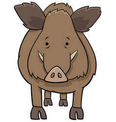 Funny wild boar cartoon animal character vector