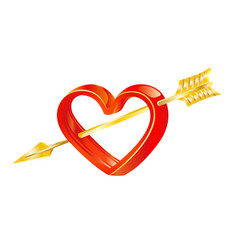 golden arrow love in heart vector image
