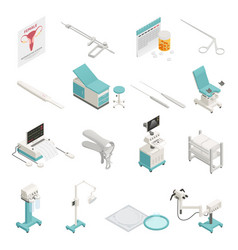 gynecology isometric icons set vector image