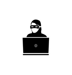 hacker icon black on white vector image
