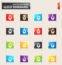 Hand and money bookmark icons vector