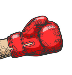 hand in boxing glove sketch engraving vector image