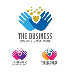 Hands care silhouette logo concept vector