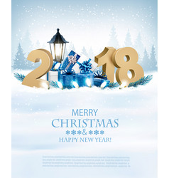 happy new year 2018 background with branch of vector image
