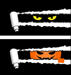 Horizontal halloween banners with torn rolled vector