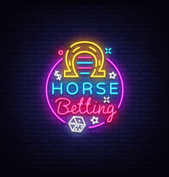 horse betting logo in neon style horse betting vector image