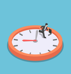 isometric businessman running on big clock face vector image