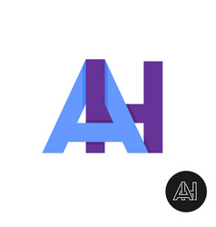 letters a and h ligature logo two ah sign vector image