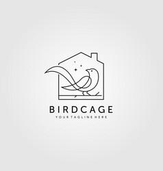 line art bird cage logo design minimalist bird vector image