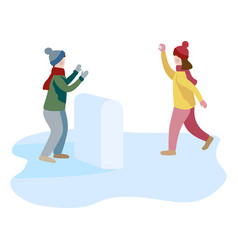 little boy and girl playing snowball fight and vector image