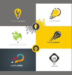 Logo design light bulb as main idea vector