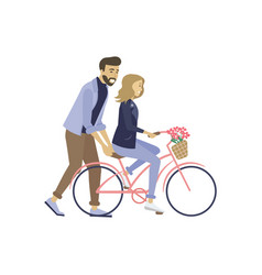 lovers with bicycle dating couple love vector image