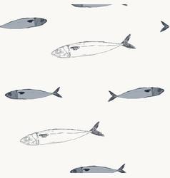 Mackerel fish hand drawn seamless pattern vector