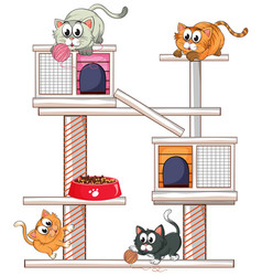 Many cats on cat condo vector