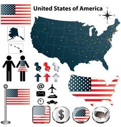 Map of USA vector image vector image