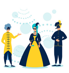 masquerade people in costumes at dance in vector image