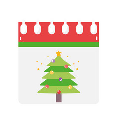 Merry christmas calendar tree balls decoration vector