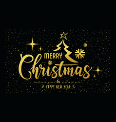 Merry christmas message golden at star night vector
