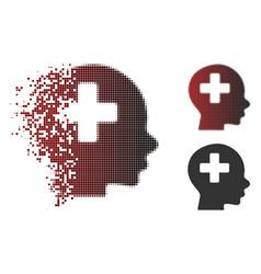 Moving pixel halftone head medicine icon vector
