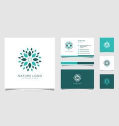 Nature flower logo premium vector
