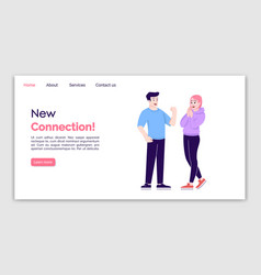 New connection landing page template friendly vector