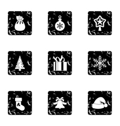 New year icons set grunge style vector