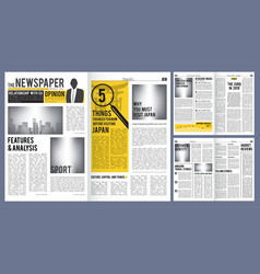 Newspaper headline press layout template of vector