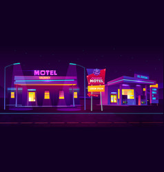 night roadside motel with parking and oil station vector image