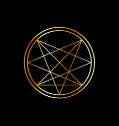 Occult symbol- order nine angles symbol in gold vector