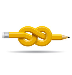 Pencil distorted and tied in a knot isolated on vector