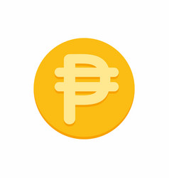 philippine peso currency symbol on gold coin vector image