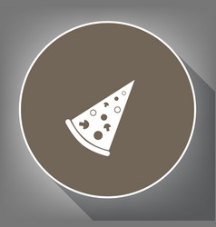 pizza simple sign white icon on brown vector image
