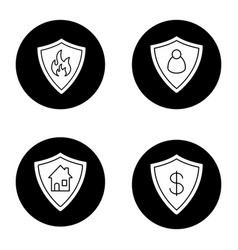protection shields icons set vector image