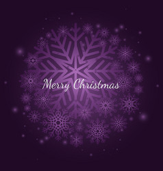 purple winter snowflake christmas background with vector image