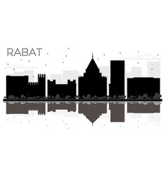 Rabat morocco city skyline black and white vector