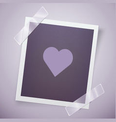 retro photo frame with heart romantic concept vector image