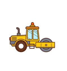 Road roller construction icon steamroller vector