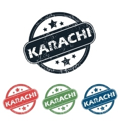 Round Karachi city stamp set vector