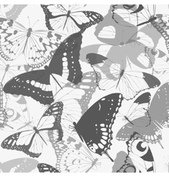 Seamless butterfly silhouettes vector image