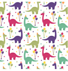 seamless pattern with dinosaurs balloons vector image