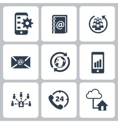 Set communication contact us icons vector