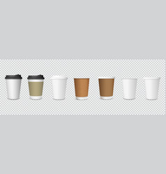 set paper coffee cups on transparent background vector image