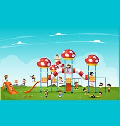 showing children enjoying vector image