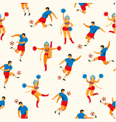 soccer players and cheerleaders girls in russian vector image
