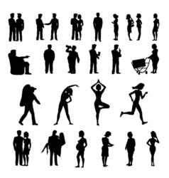 Sport and physical inactivity black silouete set vector image