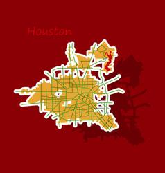 Sticker map houston city texas roads vector