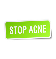 Stop acne square sticker on white vector