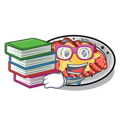 Student with book carpaccio in a character vector